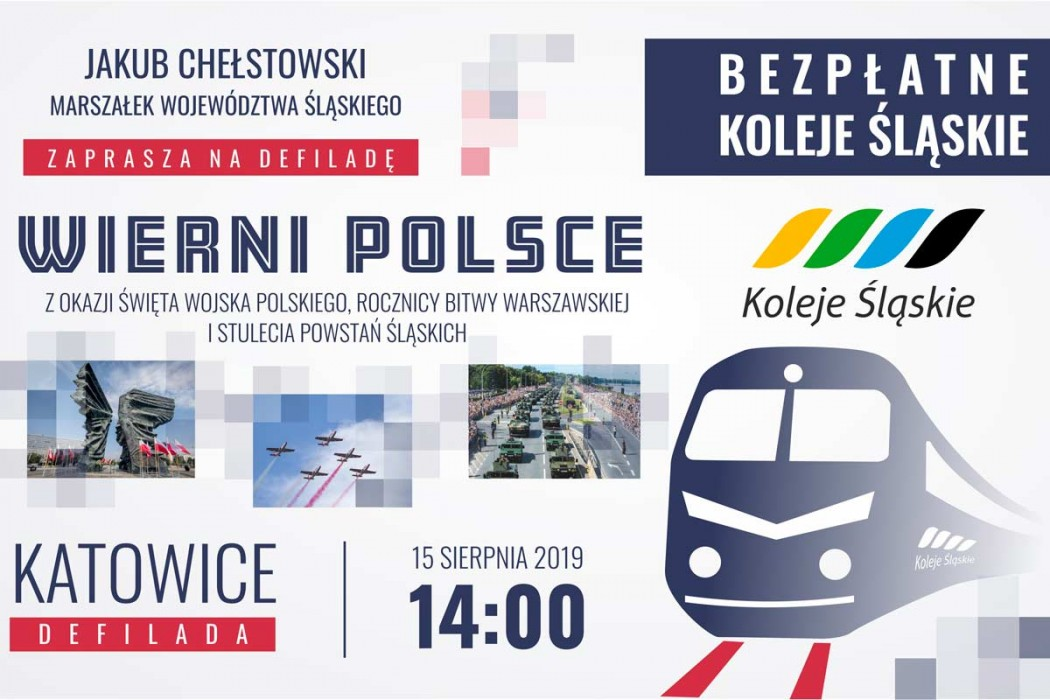 Śląskie: Bezpłatne przejazdy Kolejami Śląskim na defiladę wojskową